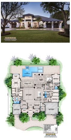 This West Indies style single story home plan offers 4,500 square feet of living space and over 1,000 square feet of outdoor living and entertainment space. The open-concept floor plan provides easy casual living perfect for entertaining in the great room, large island kitchen and dinette areas. Two large walls of pocketing glass open up seamlessly to the lanai boasting an outdoor kitchen and fireplace. More Beach House Plans…
