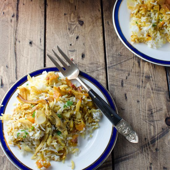 This recipe for biryani, a traditional Indian rice dish, has lots of vegetables, chicken, dried apricots and aromatic spices.