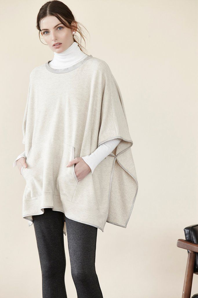 Brushed Terry Poncho w/ Suede