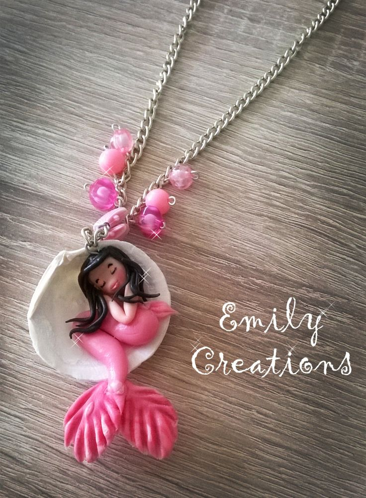 Cute sleeping mermaid in a shell necklace di EmilyCreations89 su Etsy