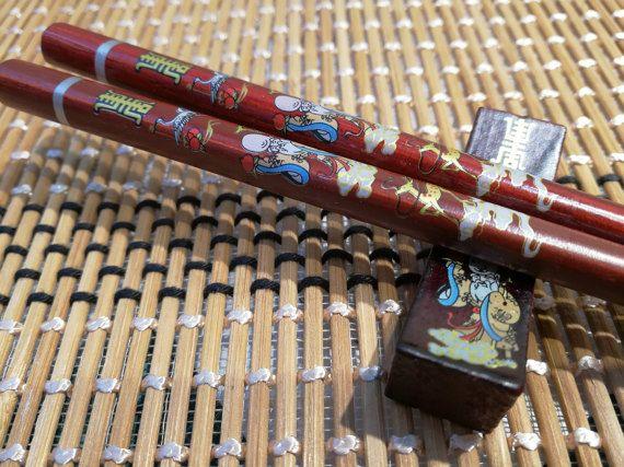 God of Longevity Asian Chopsticks with Rest
