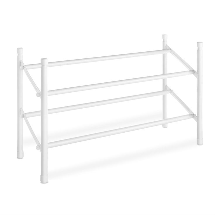 2tier stackable shoe rack organizer storage shelves in white
