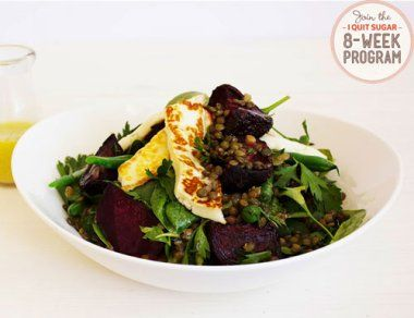 IQS 8-Week Program - Halloumi, Lentil and Beet Salad. Looks like a quick, tasty lunch that I can make several serves at once