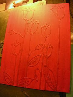 Draw a design on a canvas with a pencil, then with Elmer's glue. When the glue is dry, paint over it.