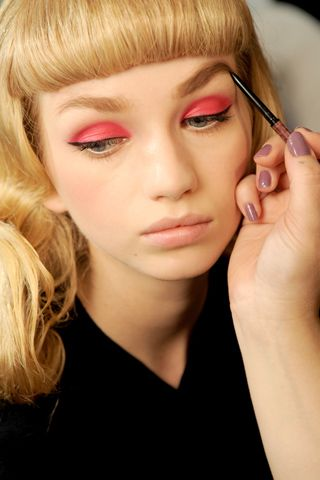 hot pink lids, christian dior spring 2011 and the bangs!