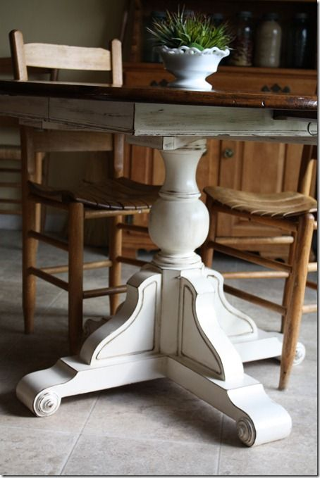 Distressed white base and dark stain top and chairs