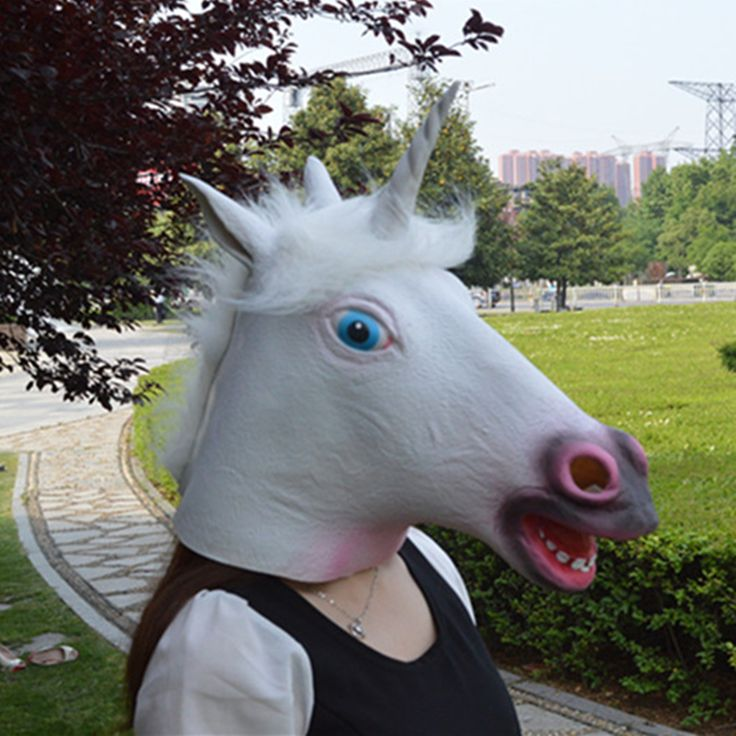 Novelty Style Halloween Magical Unicorn Masks Funny Horse Mask Deluxe Latex Animal Mask Cospaly Costume Ball Mask Theater Prop