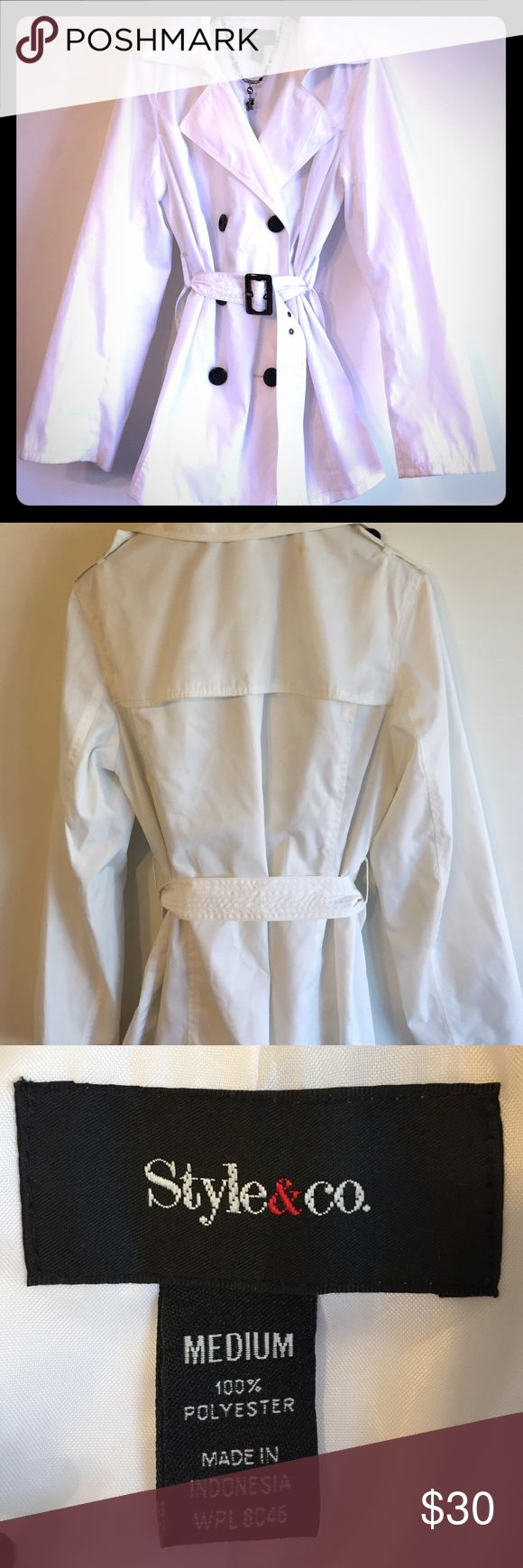 White Trench coat Beautiful bright white trench coat with black buttons. No missing buttons and in very good condition. Style & Co Jackets & Coats Trench Coats