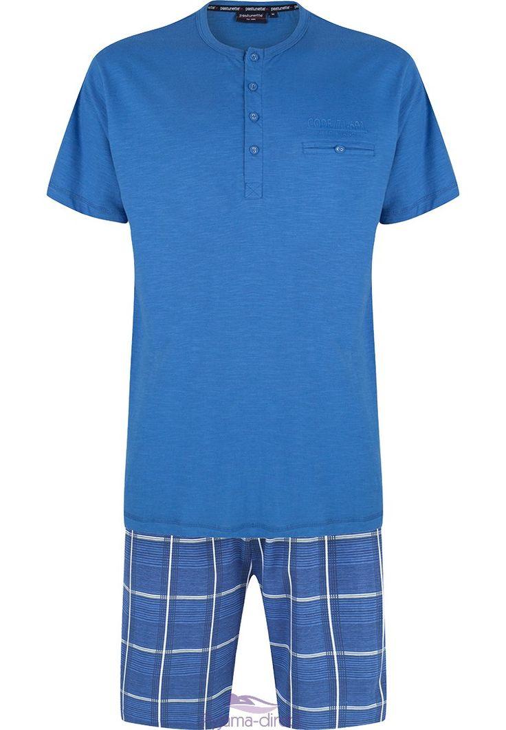 "Pastunette for Men men's blue shorty set ""checked squares"""