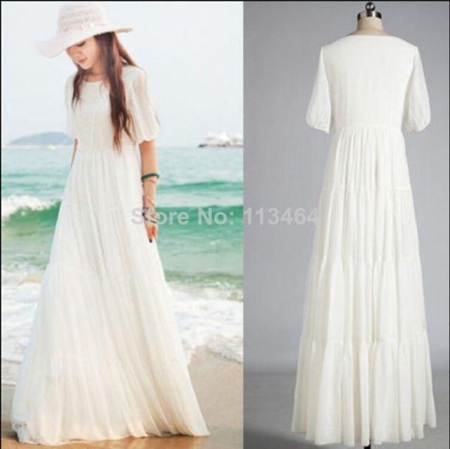 원피스/캐주얼 드레스 여름 해변 흰색 소매 파티 캐주얼 쉬폰 레이스 긴 보헤미안 맥시 드레스 플러스 사이즈 S- XXL casual dress Summer Beach White S