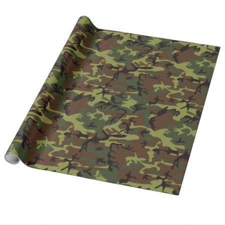 Moss Green Camo Wrapping Paper-Cool forest green brown and black camouflage pattern design
