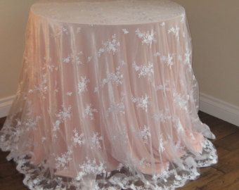 LACE WEDDING TABLECLOTH,  White Lace Tablecloth Select Your Size & Color, Lace Wedding Tablecloth,Lace Cake Tablecloth,Lace Sweetheart Table
