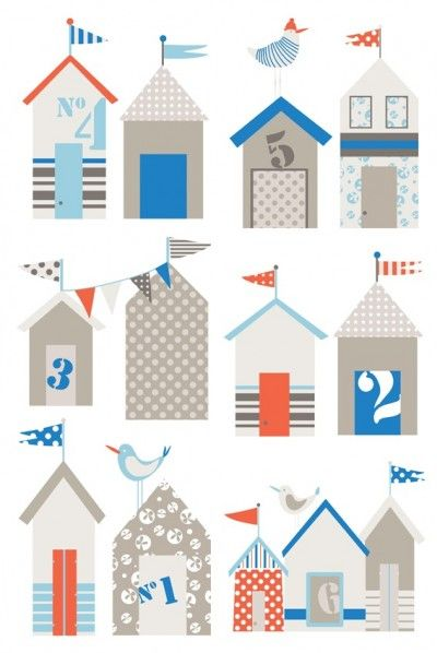 La Plage (STH6183 18 40) - Caselio Stickers - A charming wall sticker of stylized beach huts. A total of 8 stickers within this pack. Sticker sheets are 23.5cm x 67cm. Unfortunately, samples are not available.