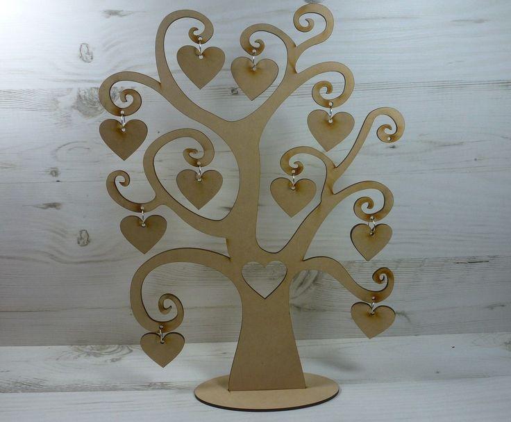 Tree FAMILY names SWIRL WORD 11 HEARTS plaque craft wood wall art MDF Wooden | eBay
