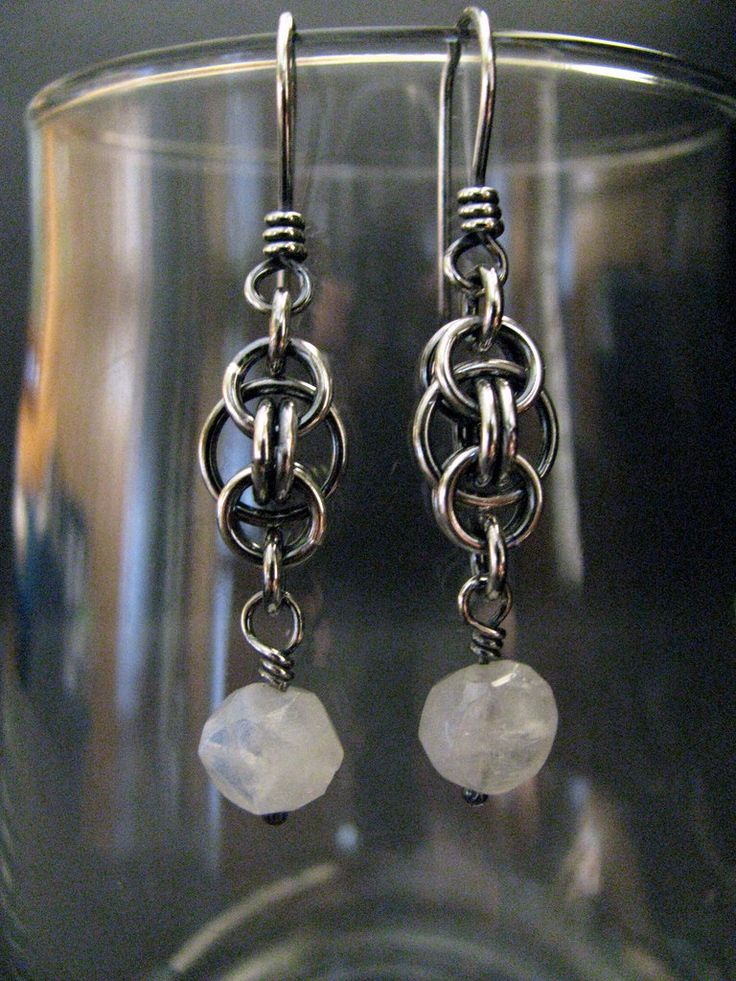 Handmade Sterling Silver Earrings, Moonstone, Chainmaille Dangle Earrings
