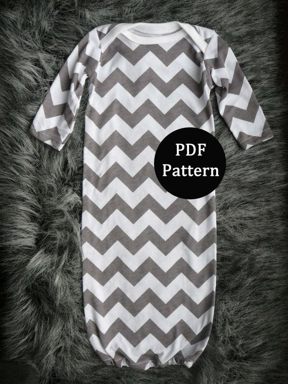 Baby sewing pattern. Newborn gown. PDF pattern, easy with lots of pictures. Sewn with sewing machine alone.   (From lippy brand patterns)