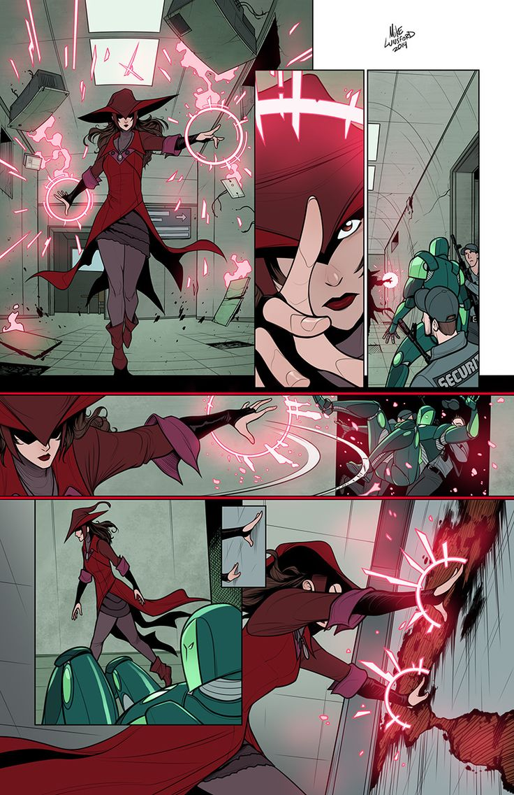Scarlet Witch sample page for my portfolio, where this time I also redesigned the characters myself (Scarlet Witch and the Guardsman). The page comes from Vision and the Scarlet Witch #1 (1985) written by Steve Englehart. And because it's kind of silly, here's a version with the original 80's dialog and sound effects. PCHOOMAA!