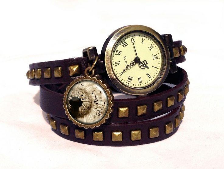 Leather watch bracelet - Dandelion, 0126WDBC  from EgginEgg by DaWanda.com