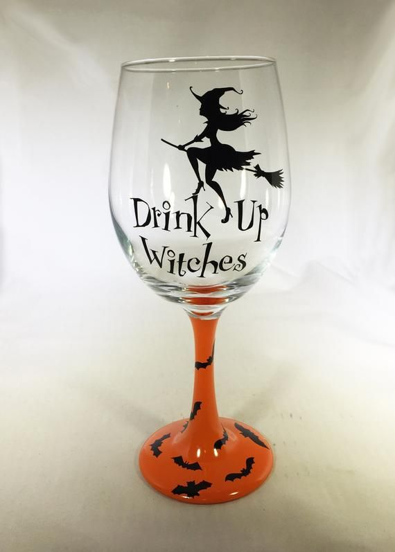Halloween glasses engraved wine glass