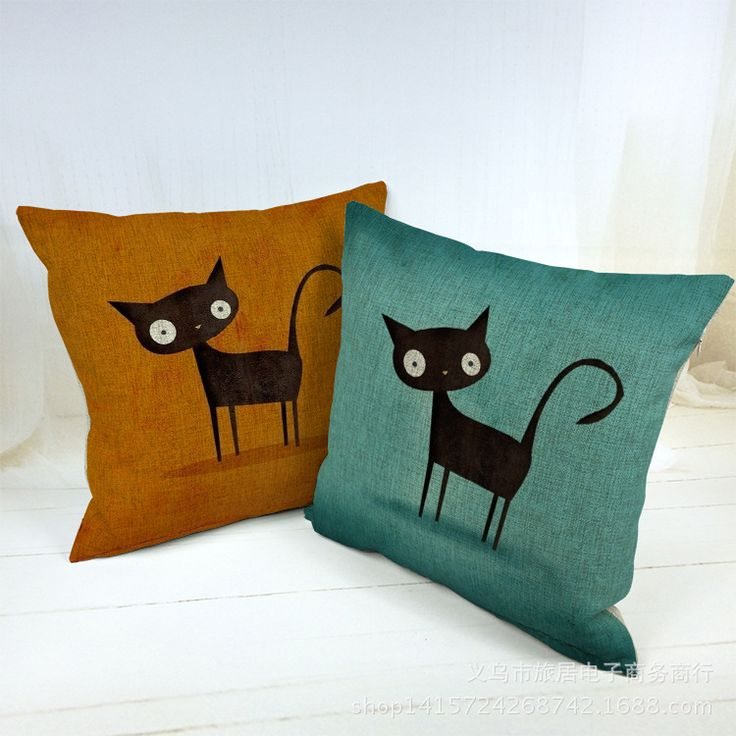 "Europa 18 "" plaza De dibujos animados gato decoración del hogar sofá cojín decorativo Throw Pillow Car Cojines Decorativos Almofada Housse De fundas De colchón Coussin(China (Mainland))"