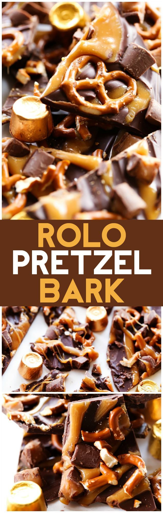 ROLO Pretzel Bark... An extremely simple yet tasty chocolate-caramel treat that only takes a fews to put together and tastes absolutely incredible! It is the perfect combo of sweet and salty! #sponsored