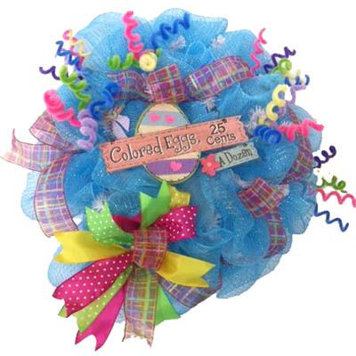 Bright and cheery Easter wreath created by Gina Carter-Small - visit the Bluegrass Kraft Korner Facebook Group!