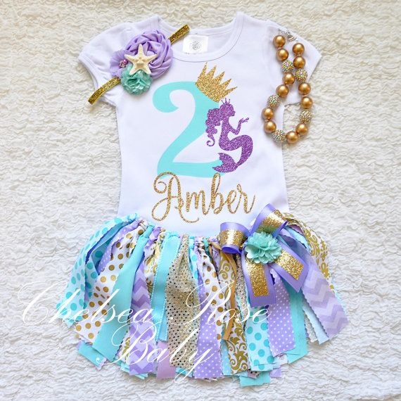 Mermaid Aqua Lavender gold 1st Birthday tutu by ChelseaRoseBaby