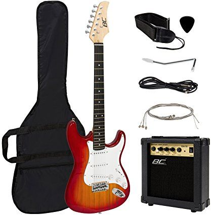 Full Size Sunburst Electric Guitar Set W/ Amp, Case, Accessories Pack Beginner Starter Package