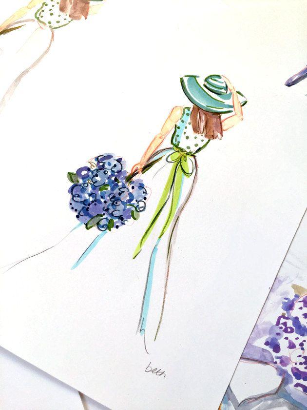 Art Print - Fashion Illustration Print - Girl in Green Summer Hat  - Fashion Art - Hydrangeas - Art Print - Free US Shipping! by bbriggsillustration on Etsy