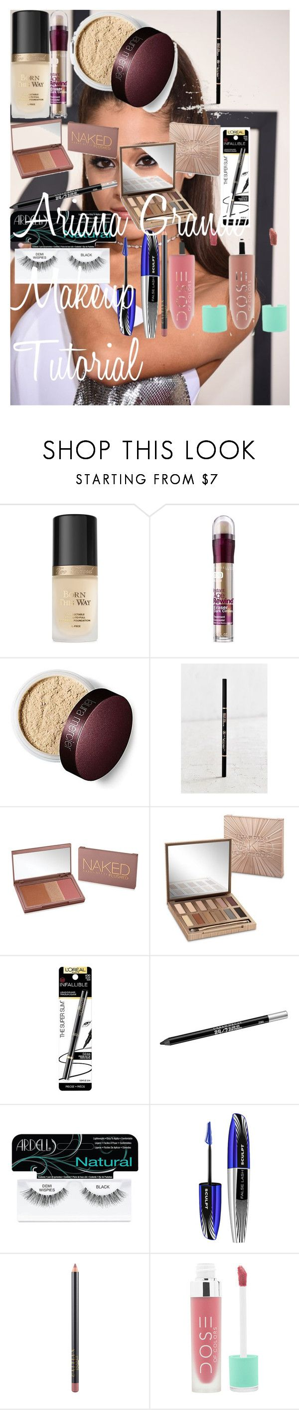 """""""Ariana Grande Makeup Tutorial"""" by oroartye-1 on Polyvore featuring beauty, Too Faced Cosmetics, Maybelline, Anastasia Beverly Hills, Urban Decay, L'Oréal Paris, Ardell and MAC Cosmetics"""