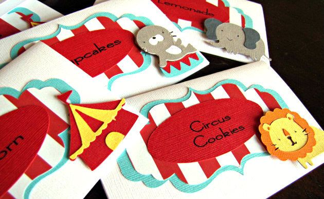 Circus Party Food Tent Cards, Circus Party Food Labels, Circus Place Cards, Carnival Food Cards, Circus Birthday Party, Circus, Set of 10 by ScrapYourStory on Etsy https://www.etsy.com/listing/165125625/circus-party-food-tent-cards-circus