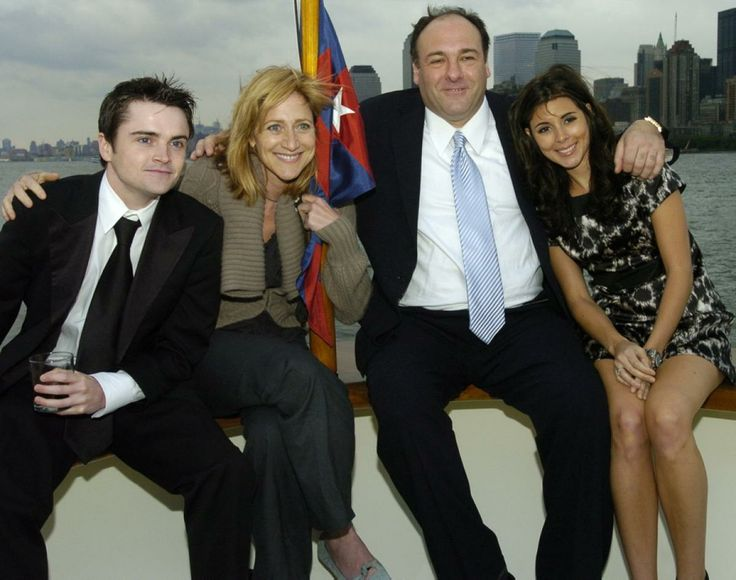 Robert Iler, Edie falco, James Gandolfini, and Jamie-Lynn Sigler get together for boat ride on the Forbes Highlander Yacht in New York City.