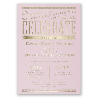 Big News - Pink - Foil Invitation: Pink Gold Rehearsal, Pink Gold And Grey Parties, Gold Foil, Invitations Sav, Big News Pink Foil Invitations, Invitations Stationery, Pink Wedding Invitations, Pink Cards, Pink And Gold