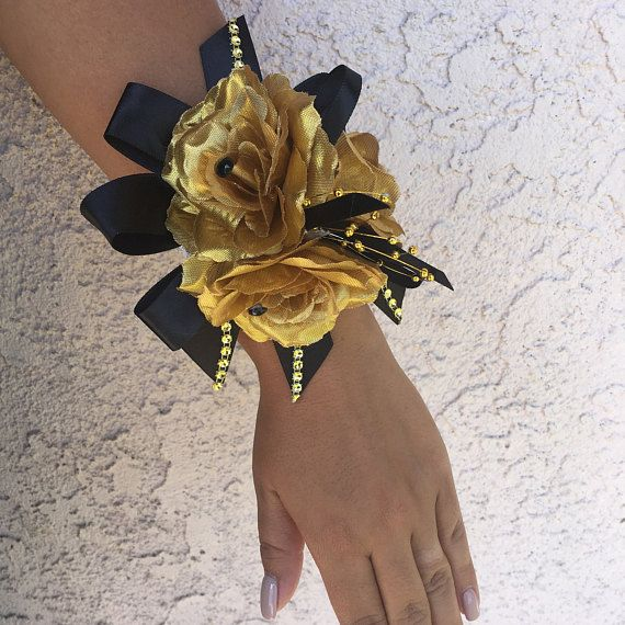 Gold and Black Wrist corsage Black and gold corsage Prom