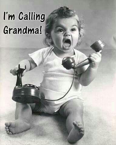"Pretty baby, ""I'm calling Grandma!"" What a little doll!"