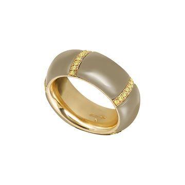 Anello a fascia media in oro giallo, diamanti gialli e pietra lavica