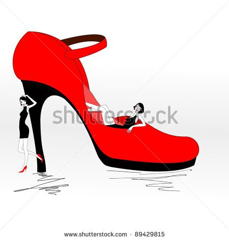 Vector Illustration of funky beautiful sexy girls with cool red Pump Shoe, Stiletto heel
