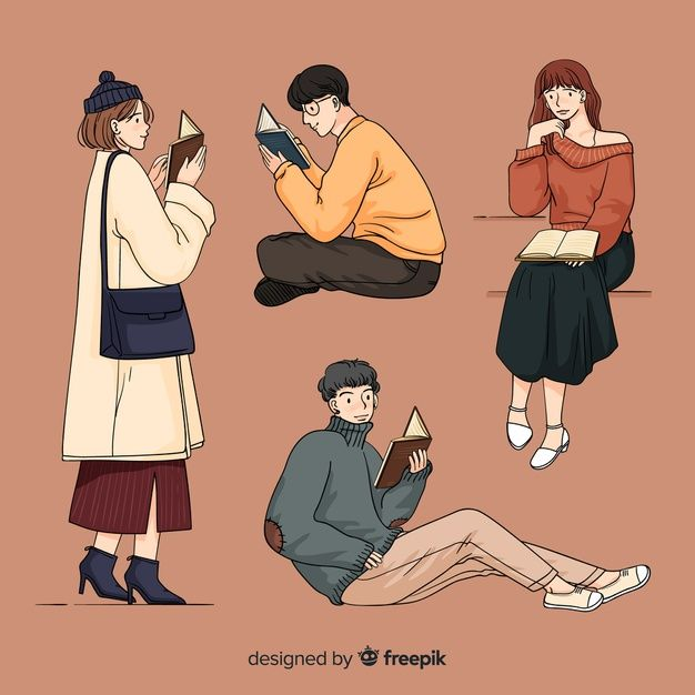 Download Young People Reading In Korean Drawing Style For Free In 2020 Blog Illustrations Fashion Drawing Korean Artist