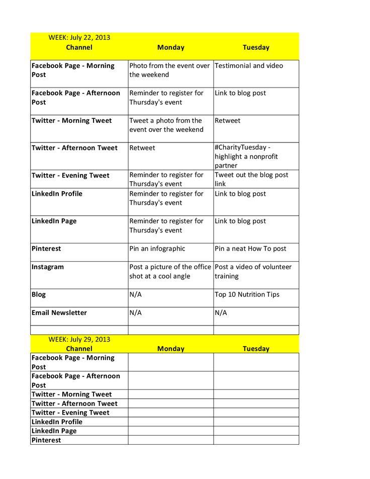 Más de 25 ideas increíbles sobre Social media calendar template en - social media calendar template