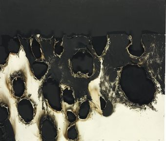 yama-bato:    Alberto Burri (1915-1995)  Combustione plastica  signed and dated 'Burri 56' (on the reverse)  acrylic and plastic on Cellotex  33½ x 393/8in. (85 x 100cm.)  Executed in 1956