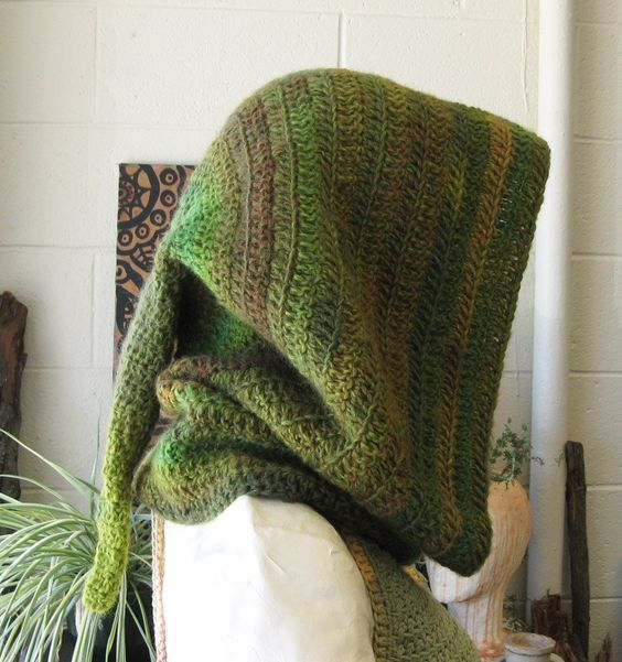 Elven Forest Hood, Crochet Hood, Wool, Elven Hood, Druid, Festival Hood, Warm Hooded Cowl, Medieval Archer, Druidess, Pixie, Green Hood by TheMysticWood on Etsy: