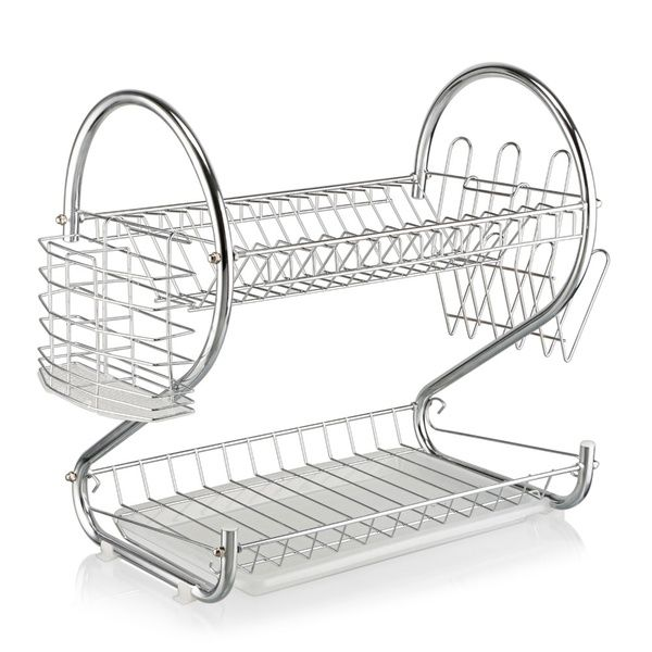 2 Tier Dish Drying Rack Stainless Steel Drainer Kitchen Storage