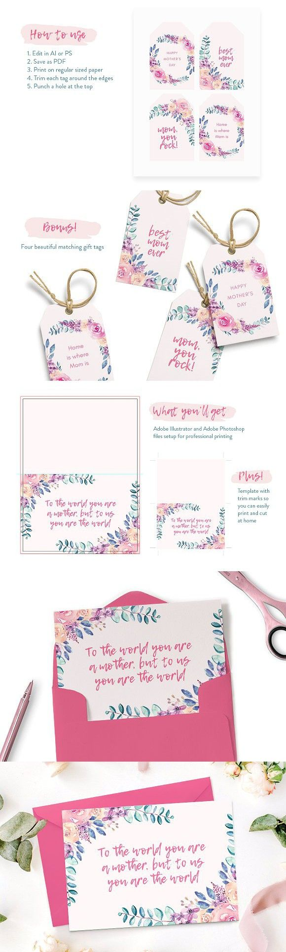 Mother S Day Card Template Bonus Mothers Day Card Template Gift Tag Template Card Template