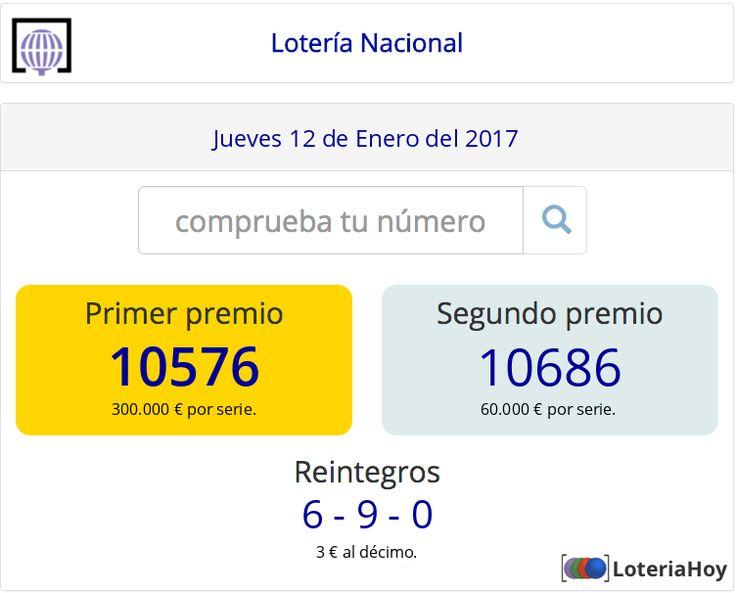 Resultados y comprobación de tu #décimo para el sorteo de #LoteríaNacional del #Jueves 12 de #Enero de 2017 #Lotería