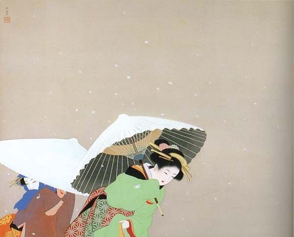 Ukiyo-e print (Japanese woodblock print) by Uemura Shōen (1875-1949). I usually don't buy posters of art pieces, but made an exception yesterday after seeing the exhibition at Riihimäki art museum. This picture mesmerized me: it's almost A3 size in real life, the paint looking so delicate and how it initially made me want to crop it again in Photoshop. The composition is so photograph-like. I am too used to digital editing of pictures: the artist wanted to leave negative space for falling…