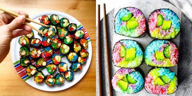 Il rainbow sushi nei colori dell'arcobaleno sembra magico! -cosmopolitan.it