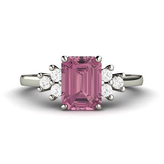 Pink Tourmaline Ring with Diamonds October Birthstone Ring 3 Stone Design in 14K or Palladium by RareEarth, $1175.00
