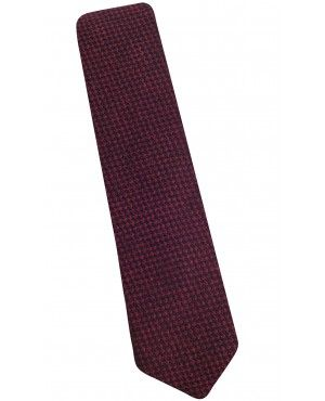 Cravate slim en laine et soie bordeaux