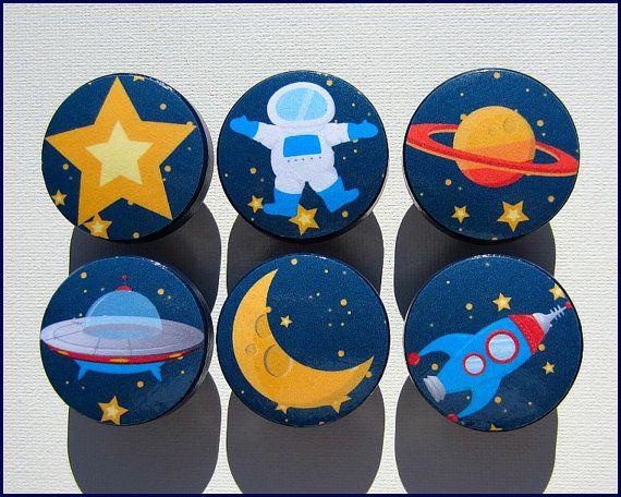 Kids Dresser Knobs - Dresser Drawer Knobs - Space - Drawer Pulls - Rocket - Astronaught - Moon