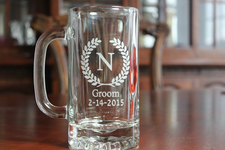 Set of 8 Engraved Beer Mugs,  Groomsman Gifts, Groomsmen Beer Mugs, Beer Glasses, Beer Glass, Personalized Beer Mug, Engraved Beer Glass by EngravingByT on Etsy https://www.etsy.com/listing/106077237/set-of-8-engraved-beer-mugs-groomsman